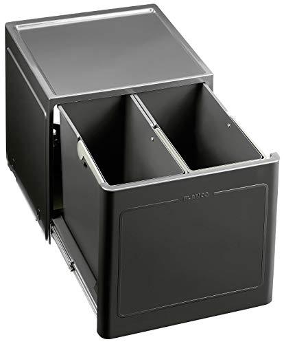 BLANCO Botton Pro 45/2 Manuell; Müllsystem für die Abfalltrennung in der Küche, mit 2 Mülleimern (je 13 l), zur Boden-Montage im 45 cm-Unterschrank; 517467