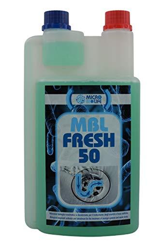 """MBL FRESH 50 - ml. 1000 flacone """"giustadose"""" – Attivatore biologico con azione deodorante per il trattamento degli scarichi e fosse settiche"""