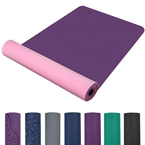 TOPLUS Preumium Yogamatte aus hochwertigen TPE, rutschfest Yogamatte Gynastikmatte Übungsmatte Sportmatte für Yoga, Pilates,Fitness usw.-Lila