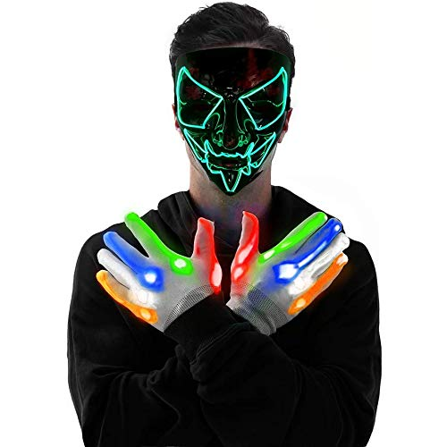 LED Purge Mask + Light Up Glove Set Used for Halloween,New Year,Prop Toys, Various Costume Party for Kids Scary Masks (Green)