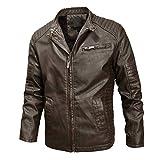 FONMA Men Winter Coat Leather Jacket Biker Motorcycle Zipper Long Sleeve Top Blouses Brown
