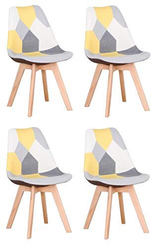 Y&D HOME Silla de Comedor de Patchwork Multicolor con Patas de Madera Maciza para Cocina, Sala de Estar, Oficina, Salón, Vestíbulo, Recepción, Sala de Espera (Amarillo, 4)