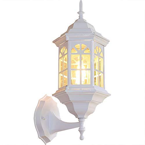 Lyghtzy Luces Exterior de Castillo de Diseño Rústico Clásico, Aplique Pared Exterior de Aluminio para Dormitorio, Terraza, Patio, Iluminación de Jardin, IP65, E27 (Blanco)