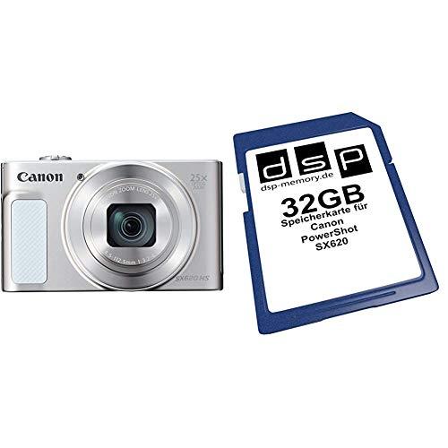 Canon PowerShot SX620 HS Digitalkamera (20,2 MP, 25-Fach optischer Zoom, 50-Fach ZoomPlus, 7,5cm (3 Zoll) Display, Opt Bildstabilisator, WLAN) Silber & 32GB Speicherkarte für Canon PowerShot SX620