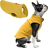 GOOBY Every Day Fleece Cold Weather Dog Vest for Small Dogs, Medium, Honey Mustard