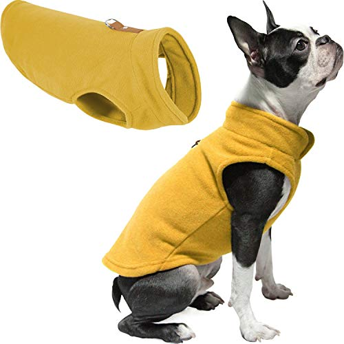 Gooby Dog Fleece Vest - Honey Mustard, Large - Pullover Dog Jacket with Leash Ring - Winter Small Dog Sweater - Warm Dog Clothes for Small Dogs Girl or Boy for Indoor and Outdoor Use
