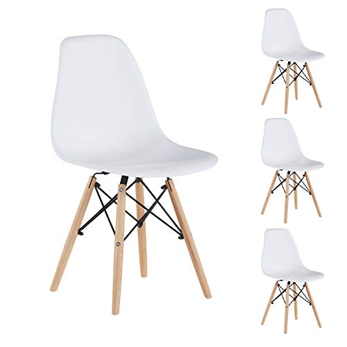 Merax Modern Living Dining Room Chairs with Wood Legs for Kitchen or Bedroom, Shell Lounge Plastic Side, White Set of 4