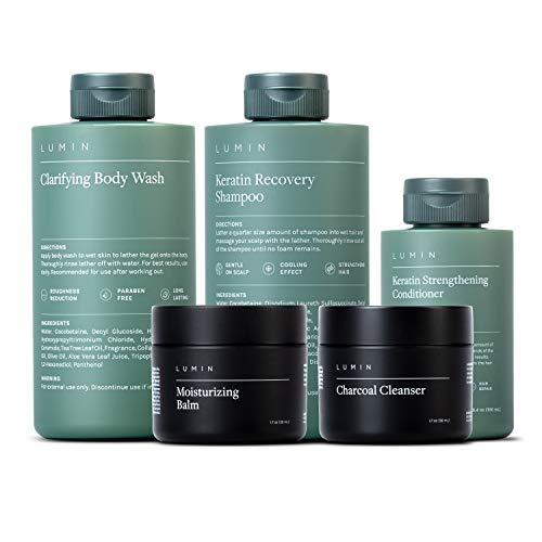 The Modern Bathroom Collection for Men: 5 Piece Kit to Cleanse/Moisturize your Hair, Skin, and Body - Includes Moisturizing Balm, Charcoal Cleanser, Shampoo,Conditioner, and Body Wash - by Lumin