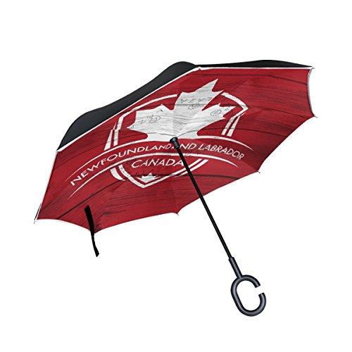 Newfoundland & Labrador Province Canadá - Paraguas invertidas de Doble Capa a Prueba de Viento, Impermeable, con Apertura automática, Plegable al revés, con Mango en Forma de C