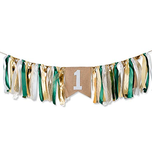 Save %10 Now! Sunnyillumine HighChair Banner for 1st Birthday of Girls or Boys - Green and Golden Fi...