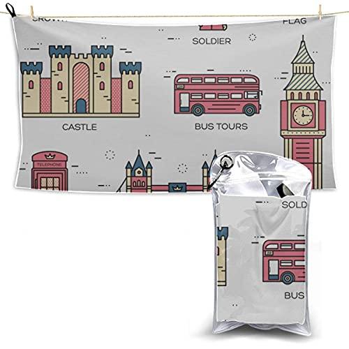 Calles de Londres Colorido Big Ben Tower Microfiber Playa Conjunto de toalla de viaje Toalla de deportes Toalla de deportes Hombres Playa Toalla Mateo 27.5 '' x 51 '' (70 x 130 cm) Mejor para Gym Trav