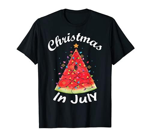 Christmas In July Summer Design Melon Christmas Tree Summer T-Shirt