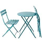AFP Bistroset 3-teilig türkis-blau - Metallmöbel-Set Tisch rund + 2 Stühle klappbar, Balkonset, kleine Gartenmöbel Garnitur Balkonmöbel stabile Ausführung, farbig