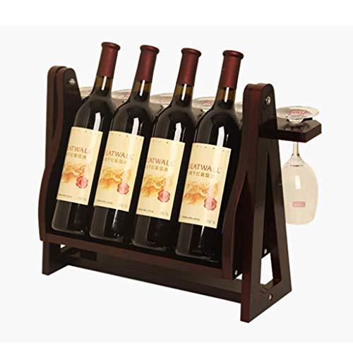 Blat w kształcie trójkąta Stojak na wino z drewna bambusowego - blat Stojak na butelki wina Miejsca na 4 butelki 6 Stojak na kieliszki do wina Wiszący uchwyt na kubek - Wolnostojący Elegancki i nowoczesny.