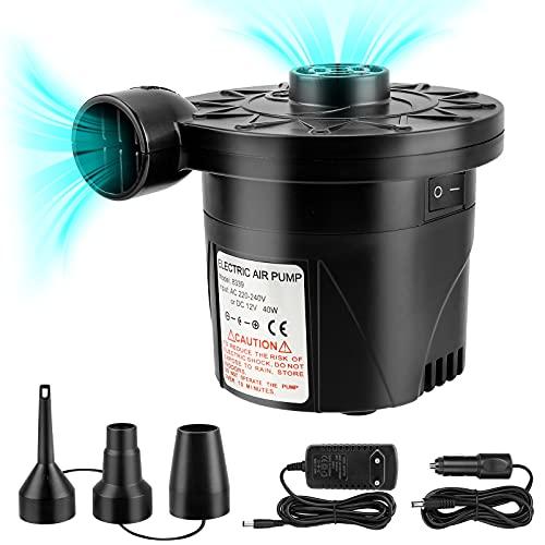 Migimi Elektrische Luftpumpe, Luftmatratze Pumpe Elektropumpe Luftpumpe für Luftmatratze, 2 in 1 Inflate und Deflate Elektrische Pump mit 3 Luftdüse für aufblasbare Matratze, Boot, Schwimmring