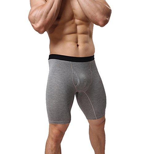 Vantissimo Herren Modal Stoff Boxershorts Trunk 3/4 Hose Radler Leggings Neu (M, Grau)