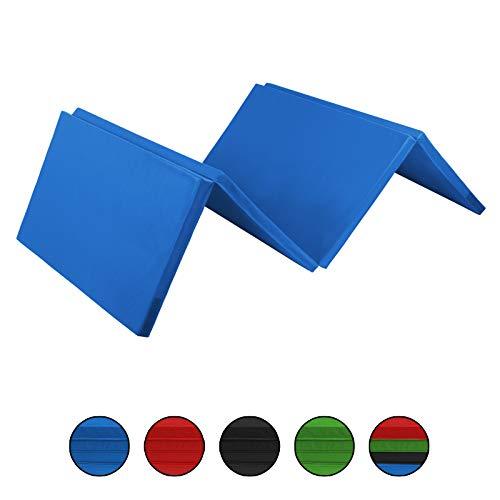 ALPIDEX Klappbare Gymnastikmatte Turnmatte für zuhause 240 x 120 x 5 cm für Kinder und Erwachsene - mit Klettecken, 3fach klappbar, Farbe:blau
