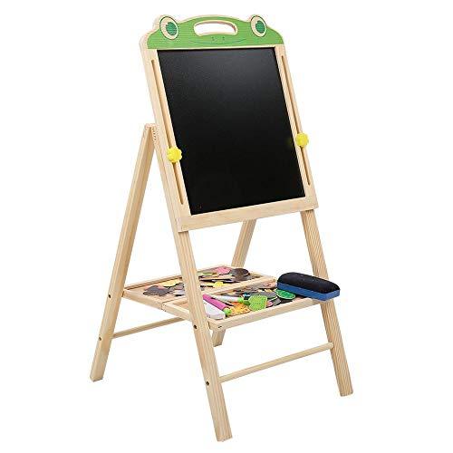 Tablero de dibujo de madera, tablero de dibujo de madera magnético de doble cara elevable portátil Tablero de escritura de dibujo magnético para niños(Rana)