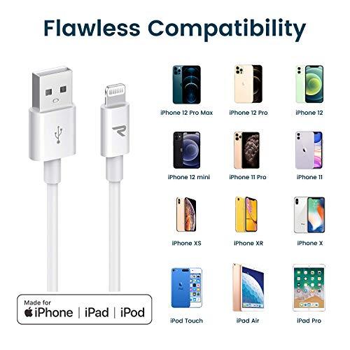 Rampow Lightning Kabel, iPhone Ladekabel - Apple MFi Zertifiziert - iPhone Kabel Kompatibel mit iPhone 12, iPhone 11, iPhone XS, iPhone XR, iPhone X, iPhone 8, iPhone 7, iPhone 6, iPad - iOS 14 - 2M Weiß
