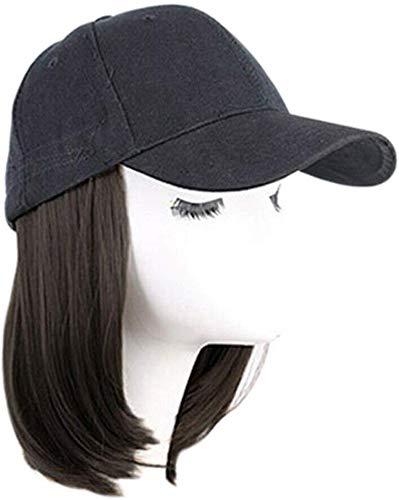 Wechoide Baseball Chapeau avec Court Perruques Bob Cheveux Synthétique Chapeau pour Femmes Été - Noir