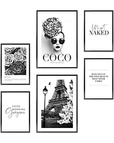 Heimlich Set di Stampe da Parete - Senza Cornici - Decorazioni da Muro per Soggiorno, Camera da Letto e Cucina - Poster Abbinati - 2 x A3 (30x42cm) et 4 x A4 (21x30cm) |»Coco Paris «