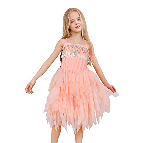 MHJY Girls Flower Dress Sequin Ruffle Tiered Party Dress for Wedding Birthday Pageant Prom Ball Gown