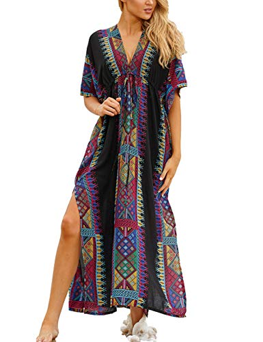 Bsubseach Half Sleeve Bikini Cover Ups Sexy Deep V Neck Backless Side Slit Beachwear Dress