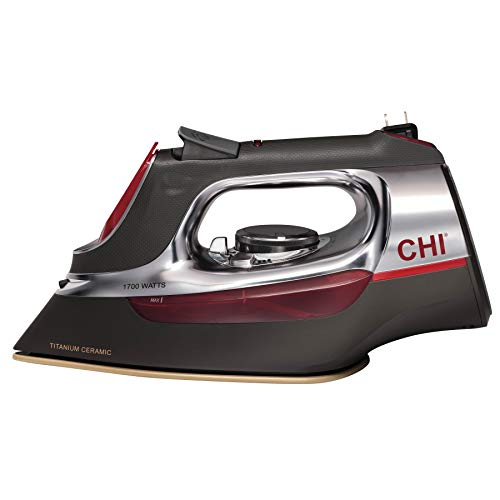 CHI Steam Iron for Clothes with Titanium Infused Ceramic Soleplate, 1700 Watts, Retractable Cord, 3-Way Auto Shutoff, 400+ Holes, Professional Grade, Silver (13106)