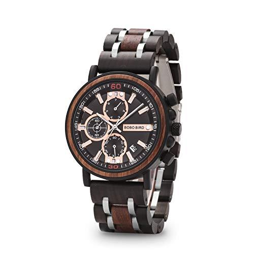 BOBO BIRD S18-1 Orologio da uomo in legno elegante in acciaio inox combinato cronografo con lancette luminose, orologio alla moda per uomo