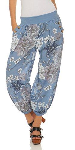 Mississhop 277 Damen leichte Blumenprint Hose Sommerhose Haremshose Ballonhose Blumen Pumphose Aladinhose Sommer Baggy Pants Hellblau