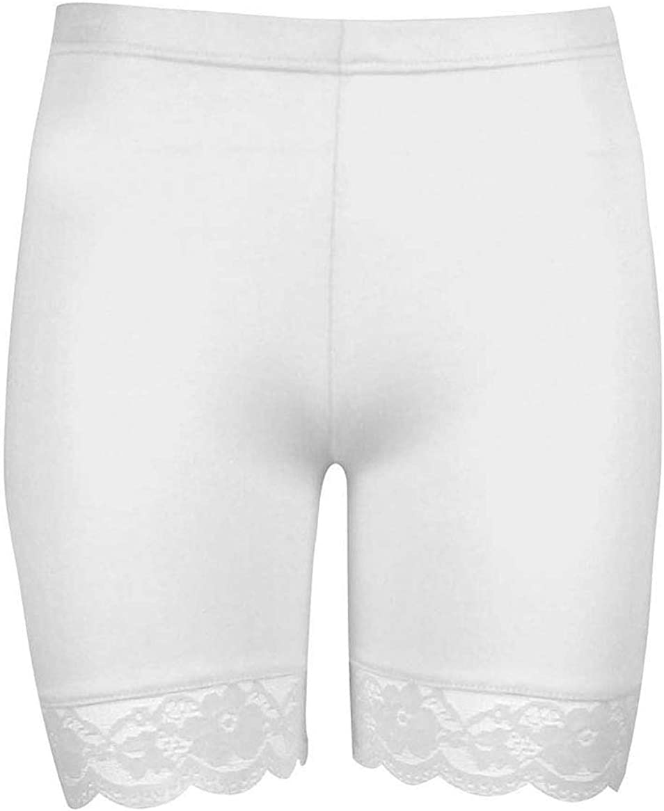 Women Plus Size Lace Insert Stretch Short Leggings Gym Tights Viscose Active Shorts Cycling Hot Pants
