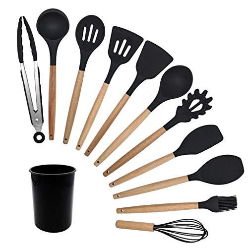 Utensilios de cocina Conjunto 12 PCS silicona utensilios de cocina antiadherente utensilios de cocina herramienta de cocina espátula cucharón huevo batidores palillo cuchara sopa cocina utensilios con