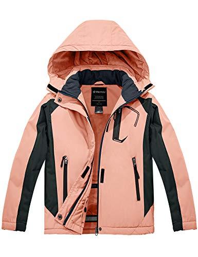 Wantdo Girl's Waterproof Fleece Snowboard Jacket Waterproof Winter Warm Hooded Rain Coat Coral Pink L