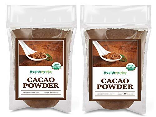 Healthworks Cacao Powder (32 Ounces / 2 Pounds) (2 x 1 Pound Bags) | Cocoa Chocolate Substitute | Certified Organic | Sugar-Free, Keto, Vegan & Non-GMO | Peruvian Bean/Nut Origin