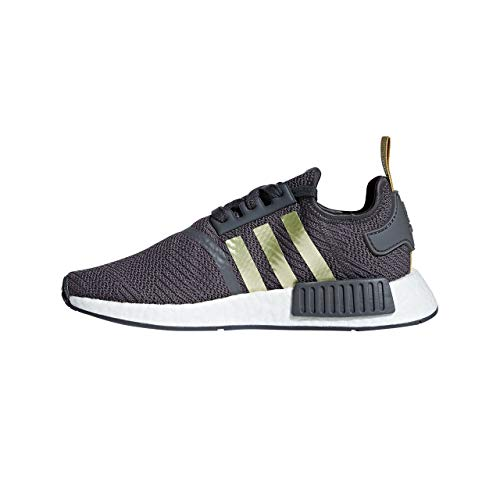 Womens Adidas Originals NMD_R1 Trainers in Grey Five/Gold metallic.