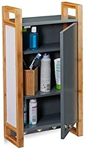 Relaxdays Bathroom Wall Cupboard with Bamboo Frame and Hooks 58 x 31.5 x 15 cm Dark Grey