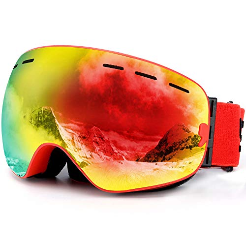 SPOSUNE OTG Ski Goggles Snow Snowboard Goggle Over Glasses with Anti-Fog Spherical Dual Interchangable Lens for Men Women Youth Skiing Snowmobile Eyewear & Helmet Compatible, UV400 Protection