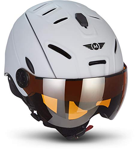 MOTO Helmets K96 · Ski-Helm Snowboard · Damen & Herren · EN-1077 Zertifiziert (White, L (59-62cm))