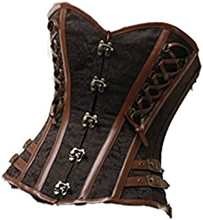 Sexy Brown Brocade Leather Goth Steampunk Bustier Waist Training Overbust Corset