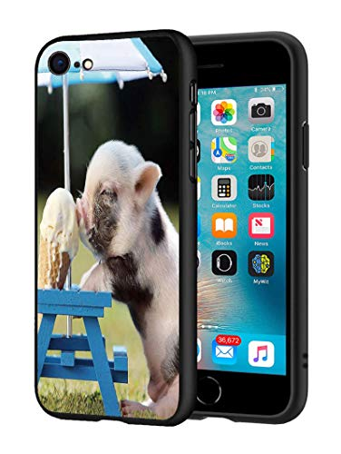 iPhone 7 Case, iPhone 8 Case, Slim Impact Resistant Shock-Absorption Silicone Protective Case Cover for iPhone 7/iPhone 8 (4.7 inch) - Cute Pig Eat Ice Cream
