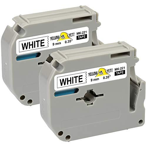 Yellow Yeti 2 Schriftbander M K221 MK221 MK-221BZ schwarz auf weiß 9mm x 8m kompatibel für Brother P-Touch BB-4 PT-45 PT-55 PT-65 PT-70 PT-75 PT-80 PT-85 PT-90 PT-M95 PT-100 PT-110 Etikettendrucker
