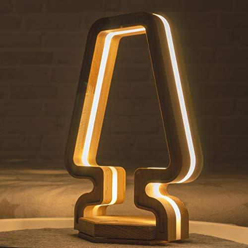 Alpen Zebra - Lámpara de mesa LED regulable, luz blanca cálida, lámpara de mesa táctil, lámpara de escritorio de madera, lámpara LED para dormitorio y salón