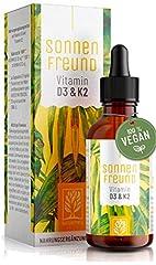 Witamina D3 K2 krople dużych dawek - 100% wegańskie - Witamina D z porostów roślinnych (bez zwierzęcej lanoliny) 1000 IU + Witamina K2 All Trans - Sun friend testowane & produkowane w Niemczech