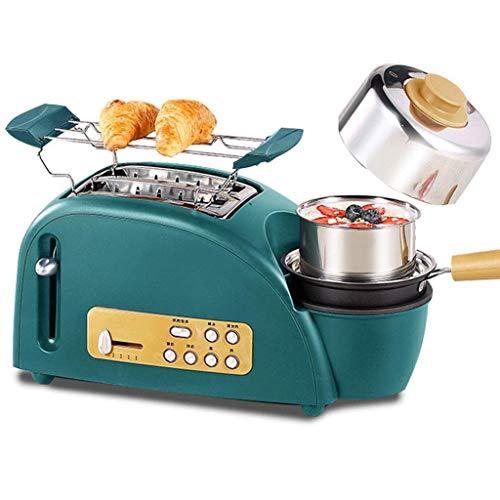 Toaster 2 Scheiben Toaster und Eierkocher, 5 in 1 Toast und Ei-Frühstück-Maschine Toaster mit Edelstahl-Grill, Bratpfanne, Dämpfende Schüssel und Ei-Rack, 5 Bread Shade Einstellungen - 1200W - Grün -
