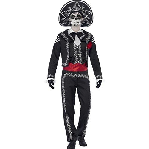 Tag der Toten Herrenkostüm Dia de los Muertos Kostüm M 48/50 Mexikaner Kostüm La Catrina Totenfest Halloweenkostüm Mariachi Männerkostüm Sugar Skull Outfit Halloween