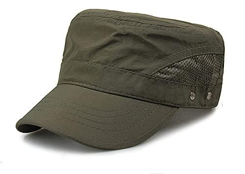 Gorra para el Sol de Malla Fina de Secado rápido de Verano para Hombre, Sombreros de Copa Plana para Exteriores, Sombrero Transpirable, Gorras de Gran tamaño para Hombre, 56-62cm-1- green-56-62cm