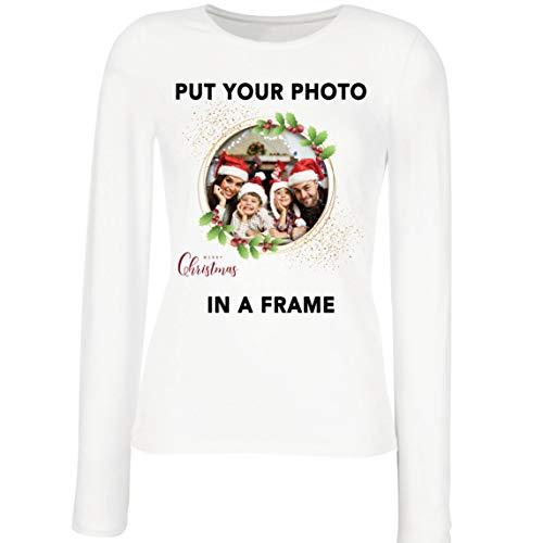 lepni.me Camisetas de Manga Larga para Mujer Marco Personalizado Vacaciones de Navidad Regalo Personalizado Foto...