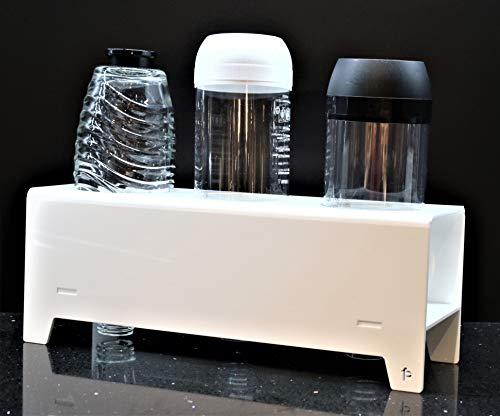 flexiPLEX bottleDRY Triple aus PLEXIGLAS® Abtropfhalter und Flaschenständer soda White für Kunststoffflaschen/Glasflaschen (außer für SodaStream Easy Flaschen dafür bottleDRY-TM verwenden)