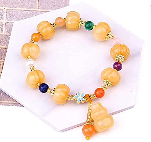 Pulsera Feng Shui Bead Natural Amarillo Dragón Jade Quartzite Pulsera Estirar Huang Long Jade Imperial Jade Golden Silk Jade Quartz Rock Calabaza Calabaza Perlas Lucky Bracelets Regalo para mujeres /