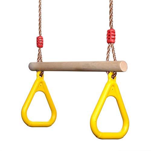 Barra de trapecio para niños, anillos de barra swing trapecio con cuerda ajustable, sencillo apego a la mayoría de los juegos de juegos de gimnasio de jungla interior y área de juegos al aire libre